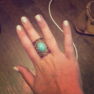 Pretty gold& teal intricate ring